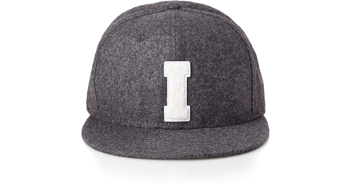 601c26252ca3a Forever 21 Flannel Initial Baseball Cap in Gray for Men - Lyst