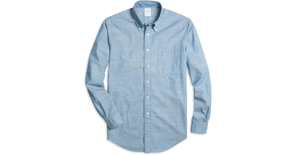 Brooks brothers milano fit chambray sport shirt in blue for Brooks brothers sports shirts