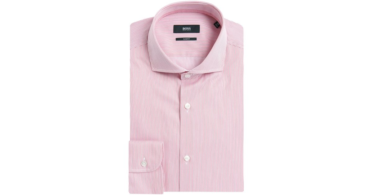 5986dc328 BOSS Striped Slim-fit Shirt In Pure Cotton: 'jery' in Pink for Men - Lyst