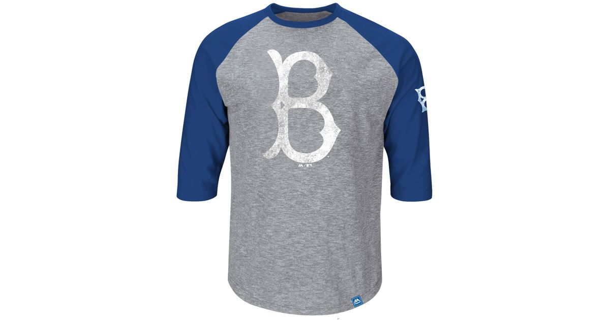 hot sales 9b7a8 89af5 Majestic Blue Men'S Three-Quarter Sleeve Jackie Robinson Brooklyn Dodgers  T-Shirt for men