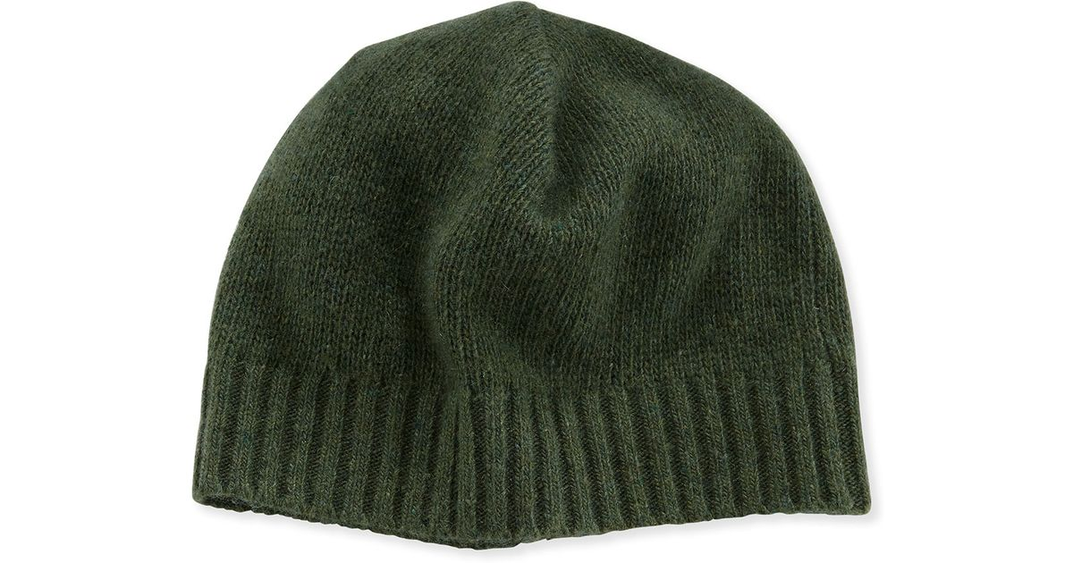 f97f3b3c836 Lyst - Portolano Cashmere Basic Knit Beanie Hat in Green