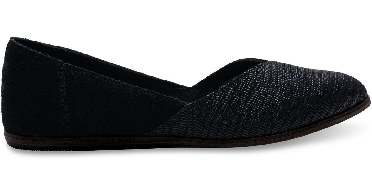 Black Suede Emboss Women's Jutti Flats