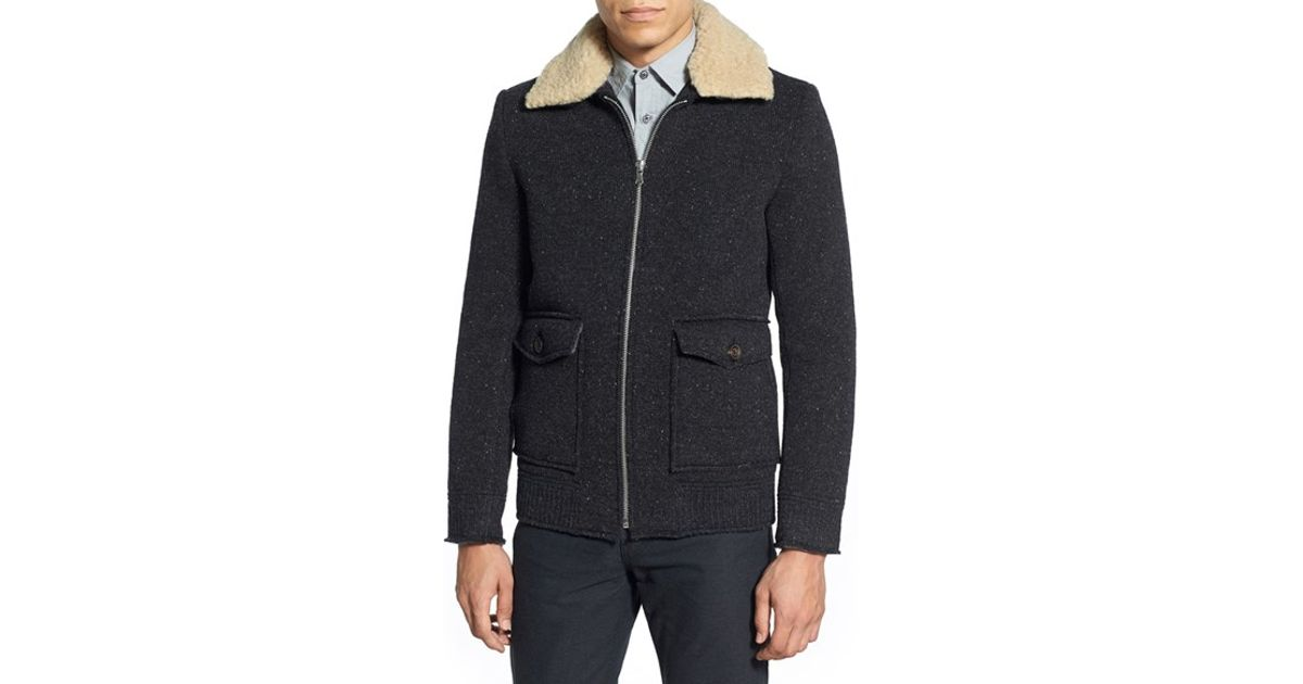 Slate And Stone Clothing : Slate stone wool knit bomber jacket in gray for men lyst