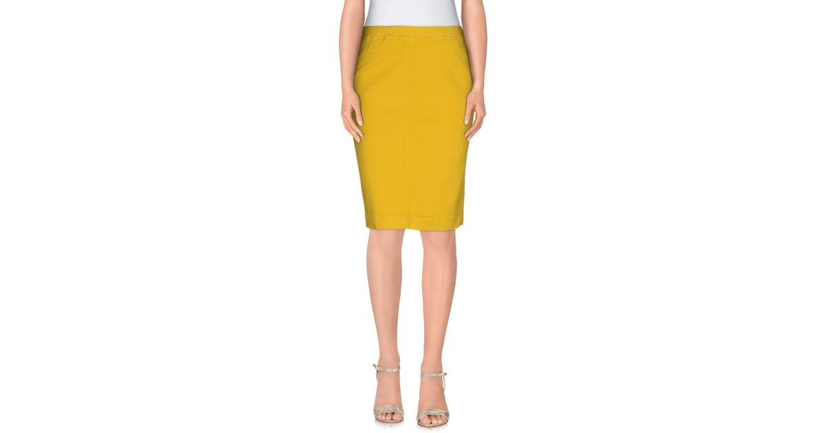 blue les copains knee length skirt in yellow lyst