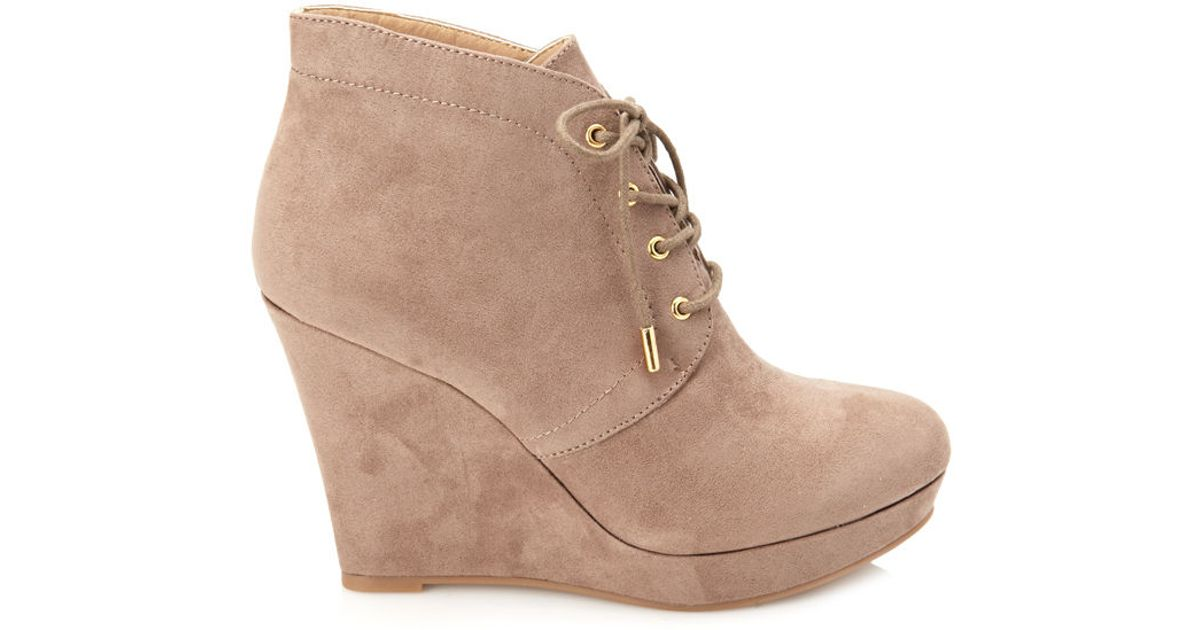 Forever 21 Lace-up Wedge Booties in