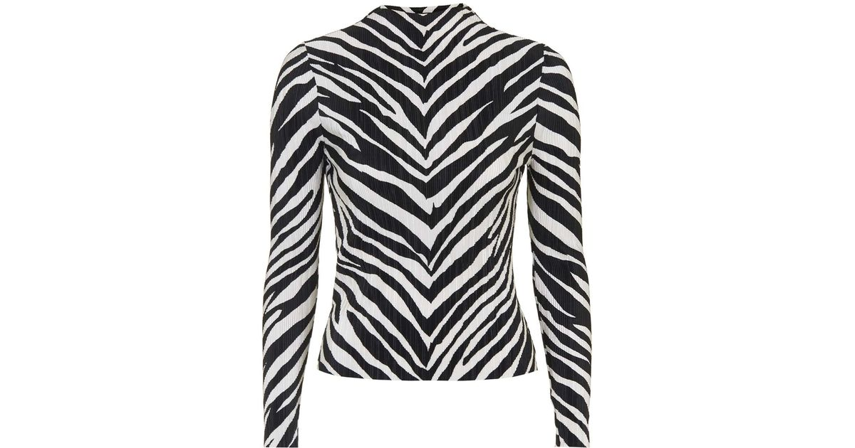 usa cheap sale uk availability arrives TOPSHOP Zebra Crinkle Top in Monochrome (Black) - Lyst