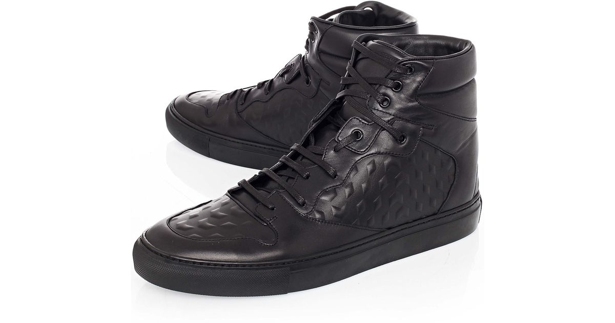 c334d10762fd4 Lyst - Balenciaga Monochrome Debossed Leather High Top Sneakers in Black  for Men