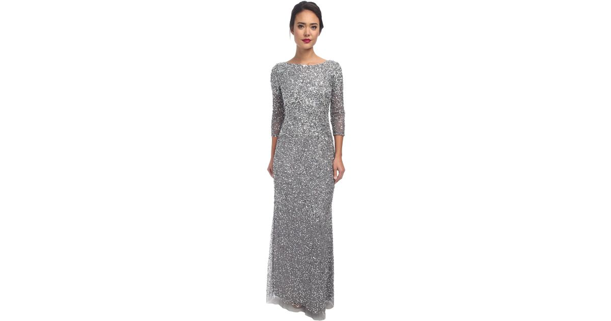 Lyst - Adrianna Papell Long Sequin Dress in Gray