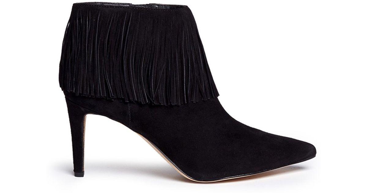 sam edelman kandice fringe suede ankle boots in black lyst