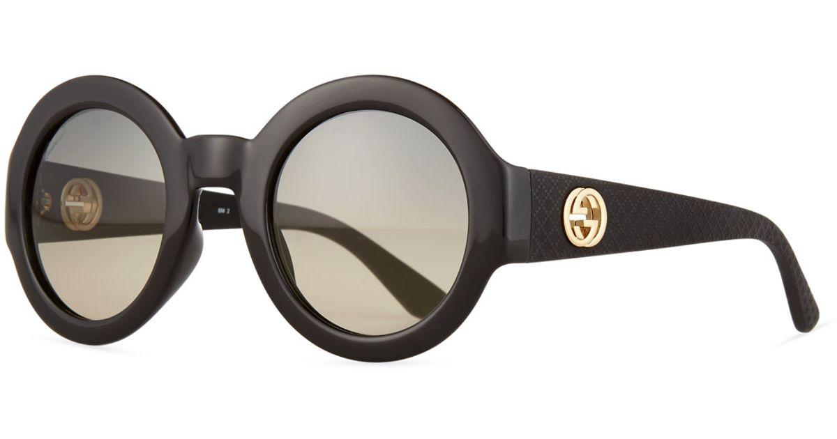 c92f3732630 Lyst - Gucci Embossed Gradient Round Sunglasses in Black