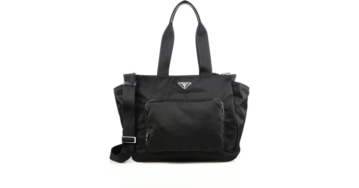 prada nylon diaper bag in black lyst. Black Bedroom Furniture Sets. Home Design Ideas