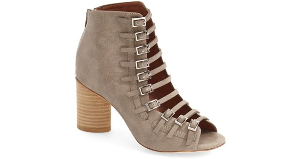 Jeffrey Campbell Houdini Ii Cage Sandal In Brown Grey
