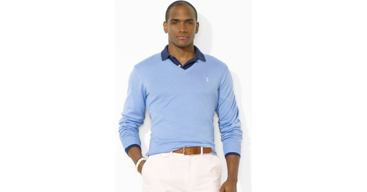 19f32bef0cb3d ... coupon for lyst polo ralph lauren pima vneck pony sweater in blue for  men f1852 60b62