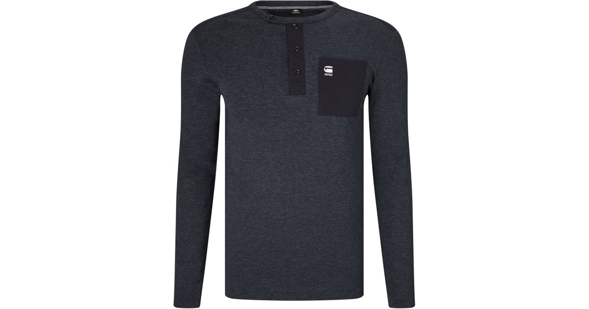 ca9cc35232 G-Star RAW Mazuren Slim Grandad Long Sleeve T-shirt in Blue for Men - Lyst