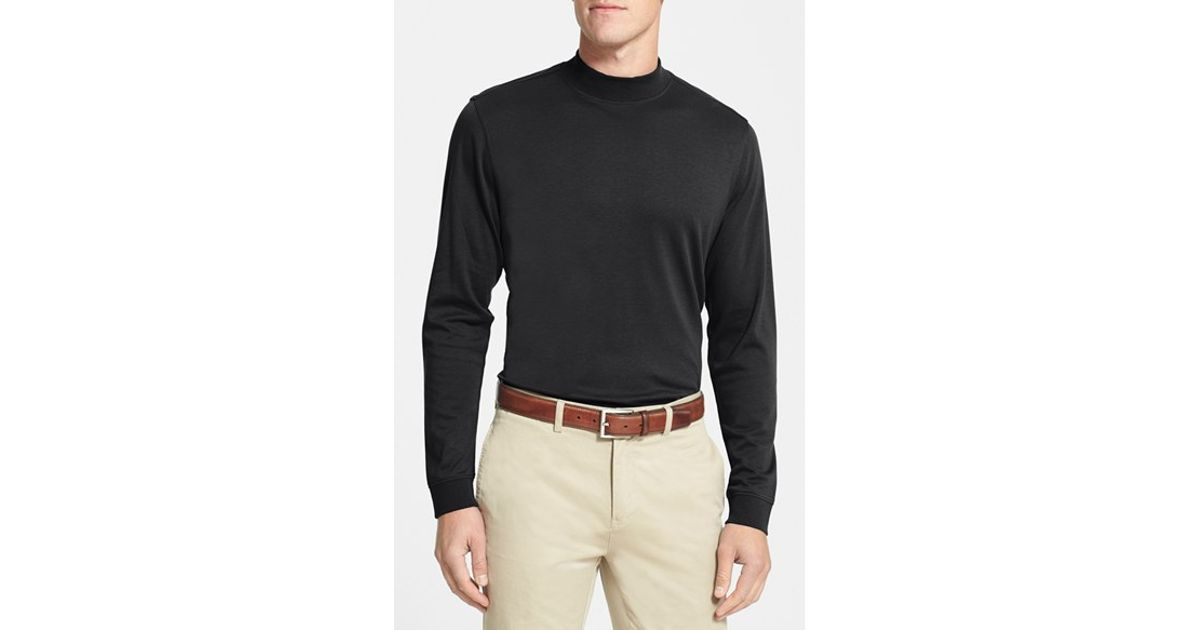 Cutter Buck Long Sleeve Mock Neck Pima Cotton T Shirt In