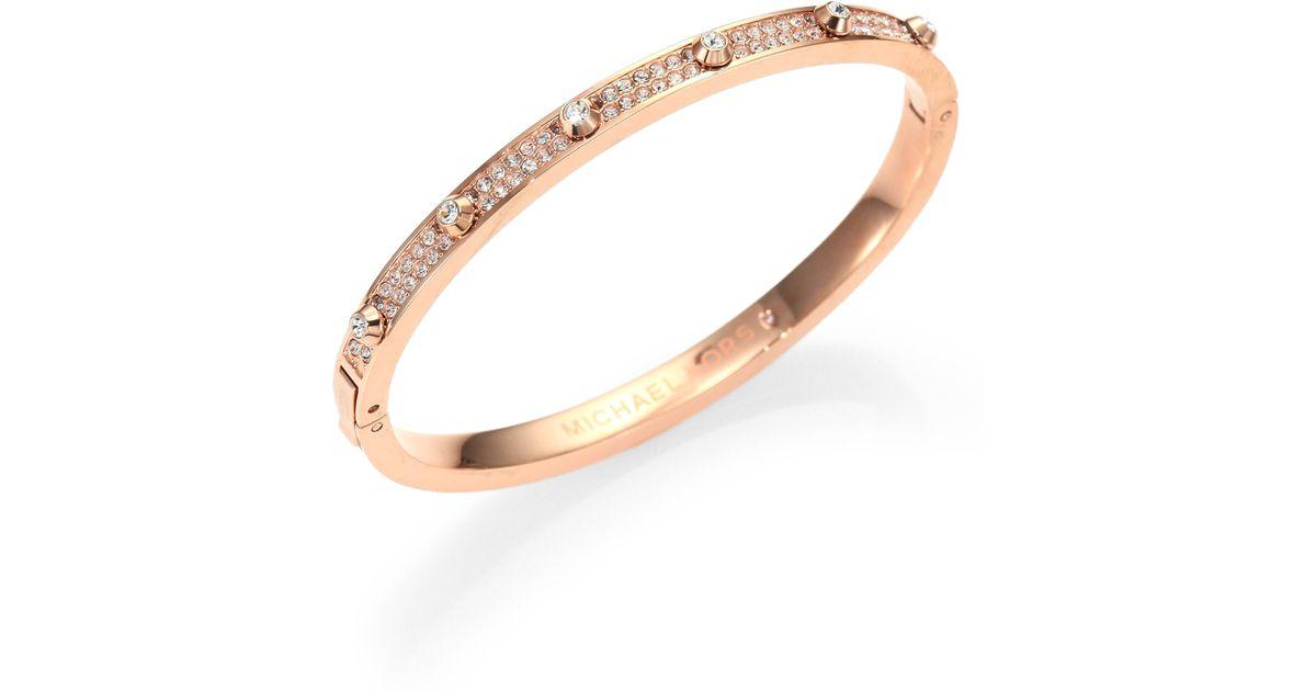 Lyst Michael Kors Astor Studded Pav Eacute Bangle Bracelet Rose Goldtone In Metallic