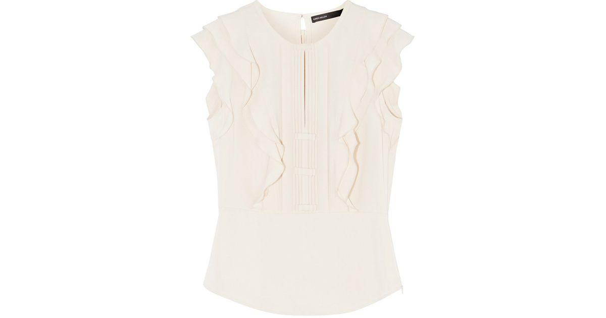 fe9606327516b Lyst - Karen Millen Ruffle Sleeveless Top in White