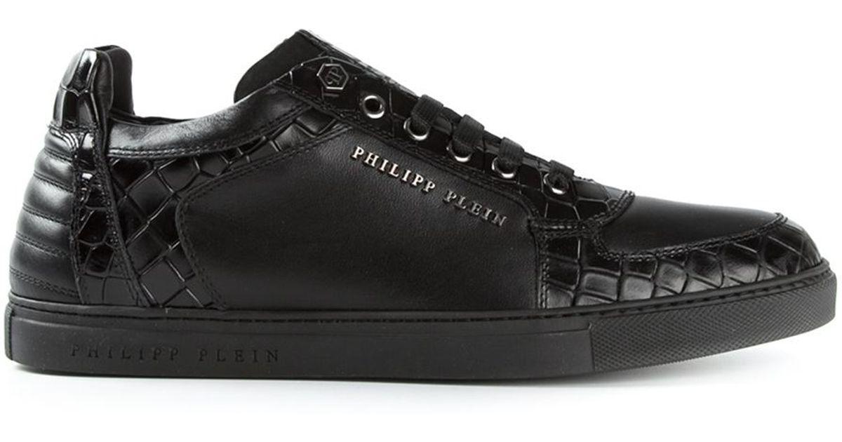 Philipp Plein Black Crocodile Effect Sneakers for men