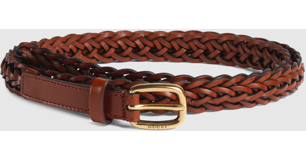 42ba0e99af6 Lyst - Gucci Thin Hand-braided Leather Belt in Brown