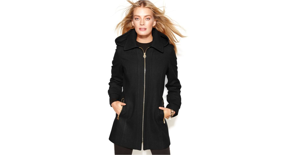d6a7f503b7f6 Lyst - Michael Kors Michael Petite Hooded Zip-Front Wool-Blend Coat in Black