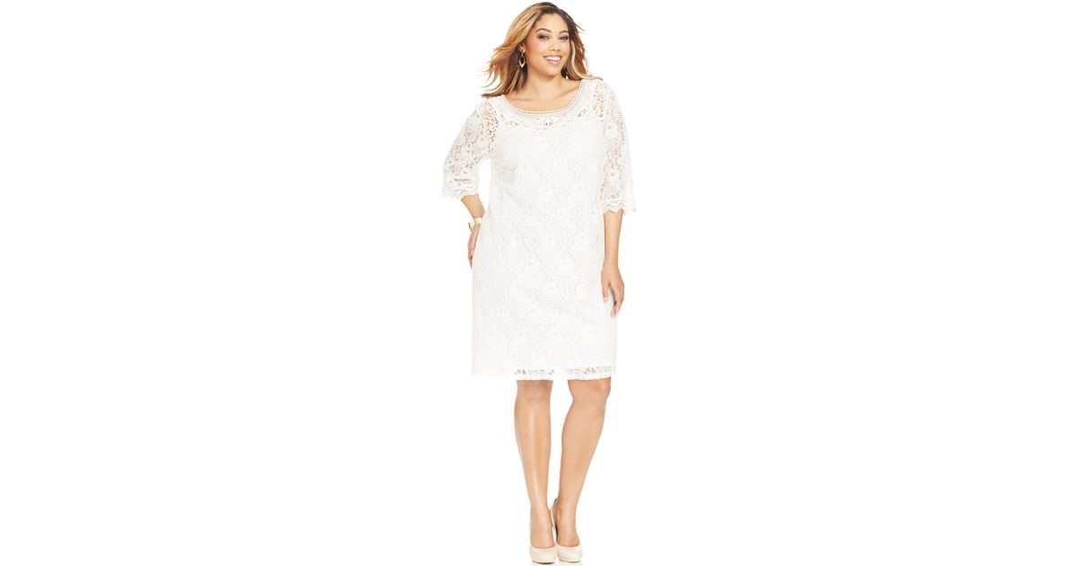 Spense Plus Size Three-Quarter-Sleeve Lace Dress in White | Lyst