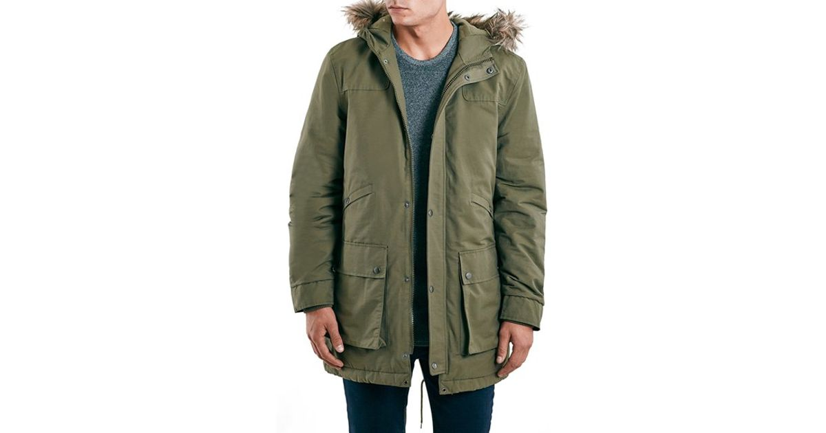 Topman Heavyweight Hooded Fishtail Parka With Faux Fur Trim in ...