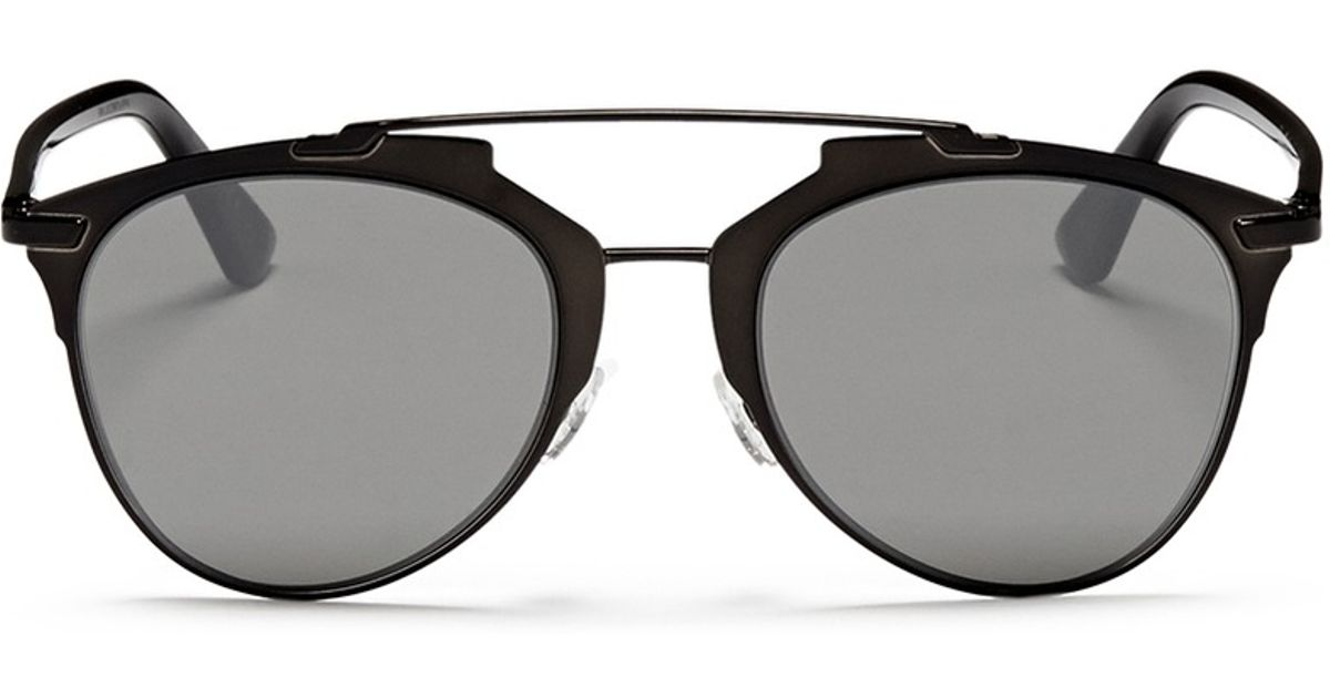 218a16dea4f6 Lyst - Dior  reflected  Acetate Temple Metal Veneer Aviator Sunglasses in  Black