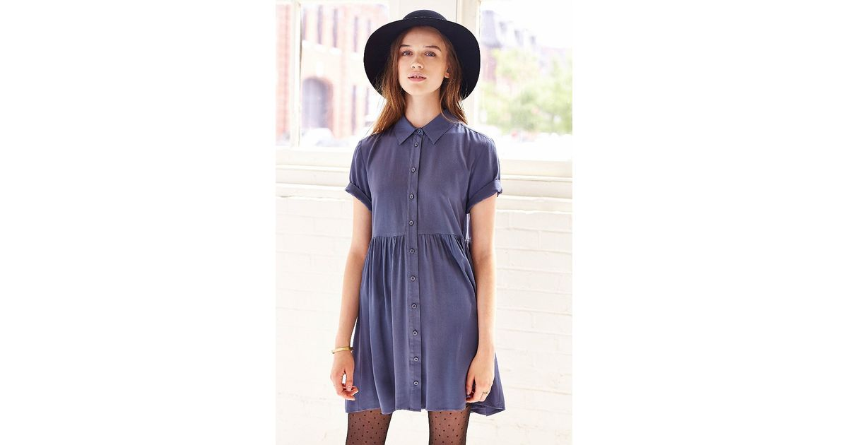 585ed4f669d BDG Blue Babydoll Shirtdress