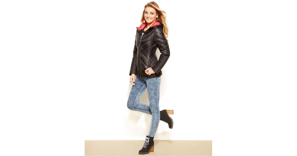 43302f351 Madden Girl Black Hooded Quilted Packable Puffer Coat