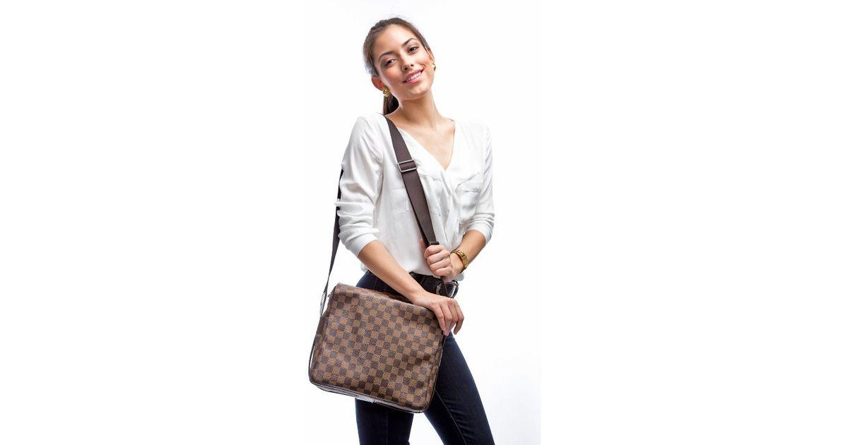 Lyst Louis Vuitton Preowned Damier Ebene Naviglio Messenger Bag In Brown For Men