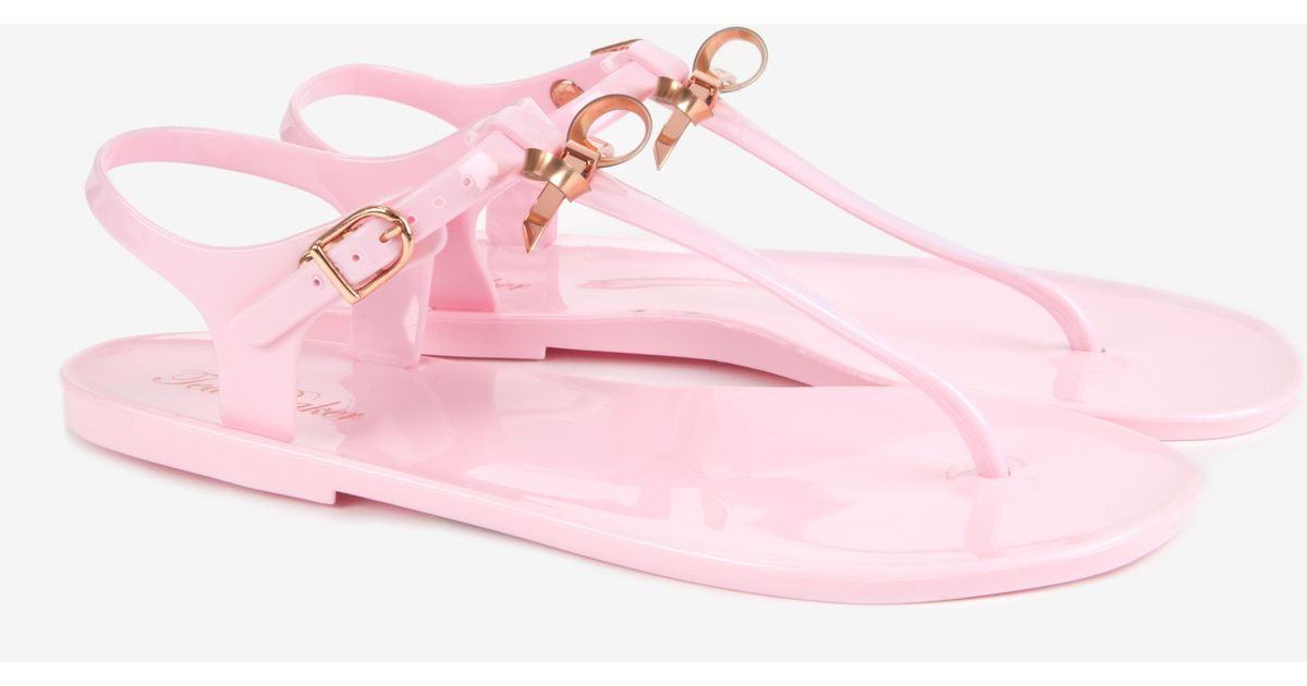 5156ebe61bc2 Ted Baker Slim Bow Jelly Gladiator Sandals in Pink - Lyst