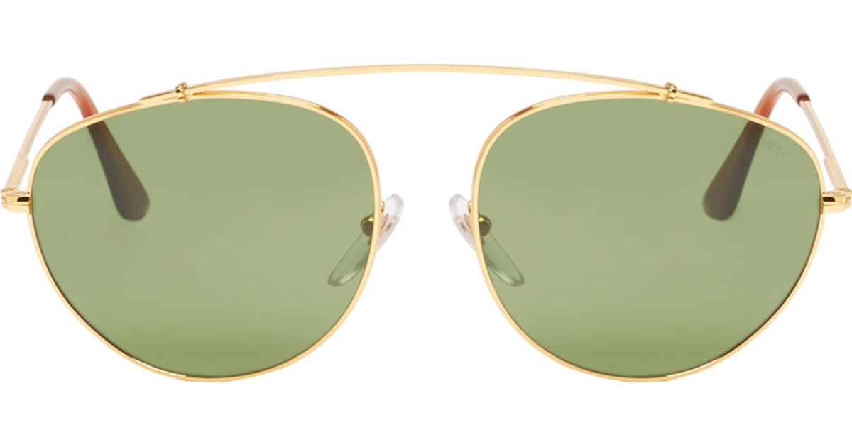Green Tinted Sunglasses  retrosuperfuture gold frame green tinted lens aviator sunglasses