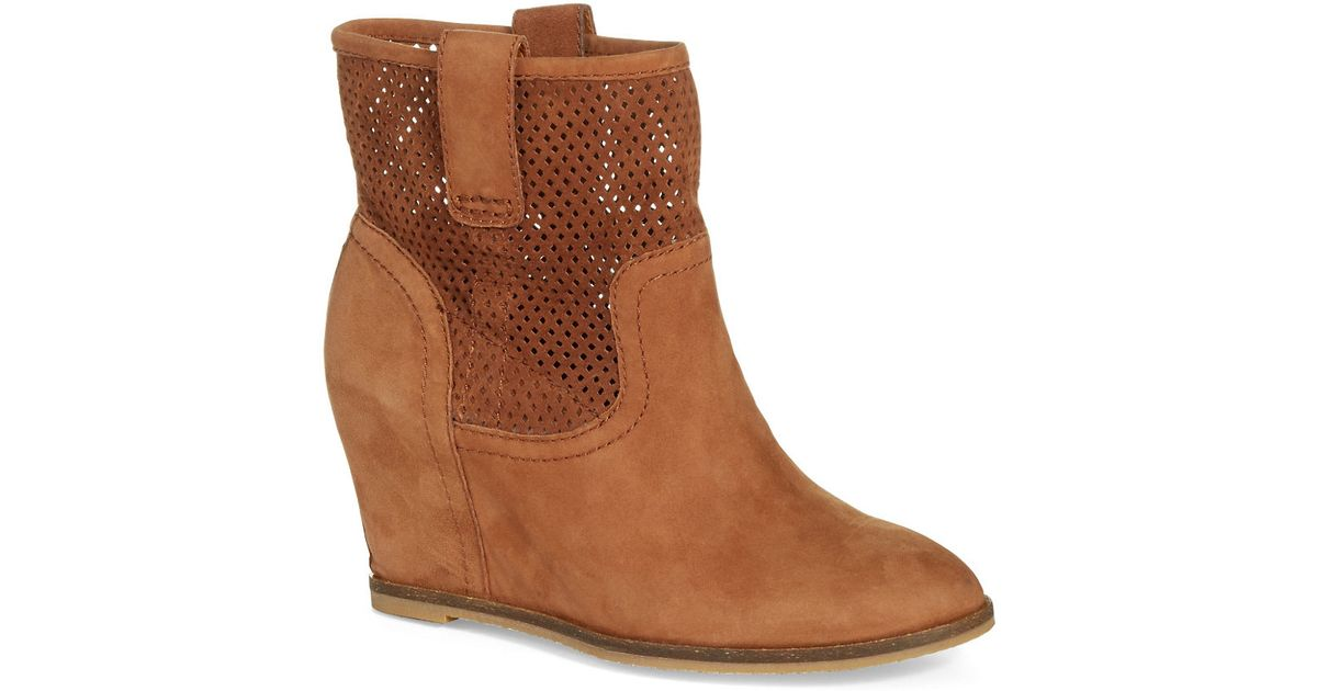 lucky brand keno leather covered wedge booties lyst