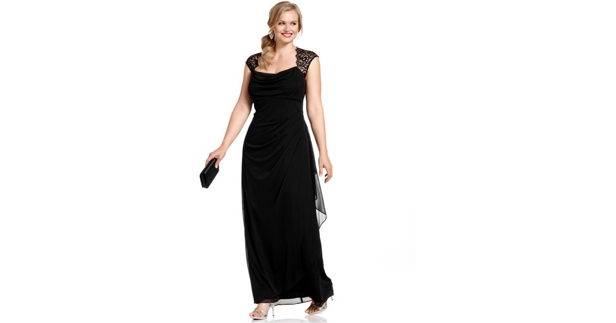 Lyst Xscape Plus Size Dress Cap Sleeve Lace Ruffled Gown In Black