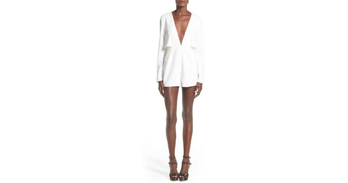 53a4f0368ea Missguided - White Long Sleeve Plunge V-neck Romper - Lyst