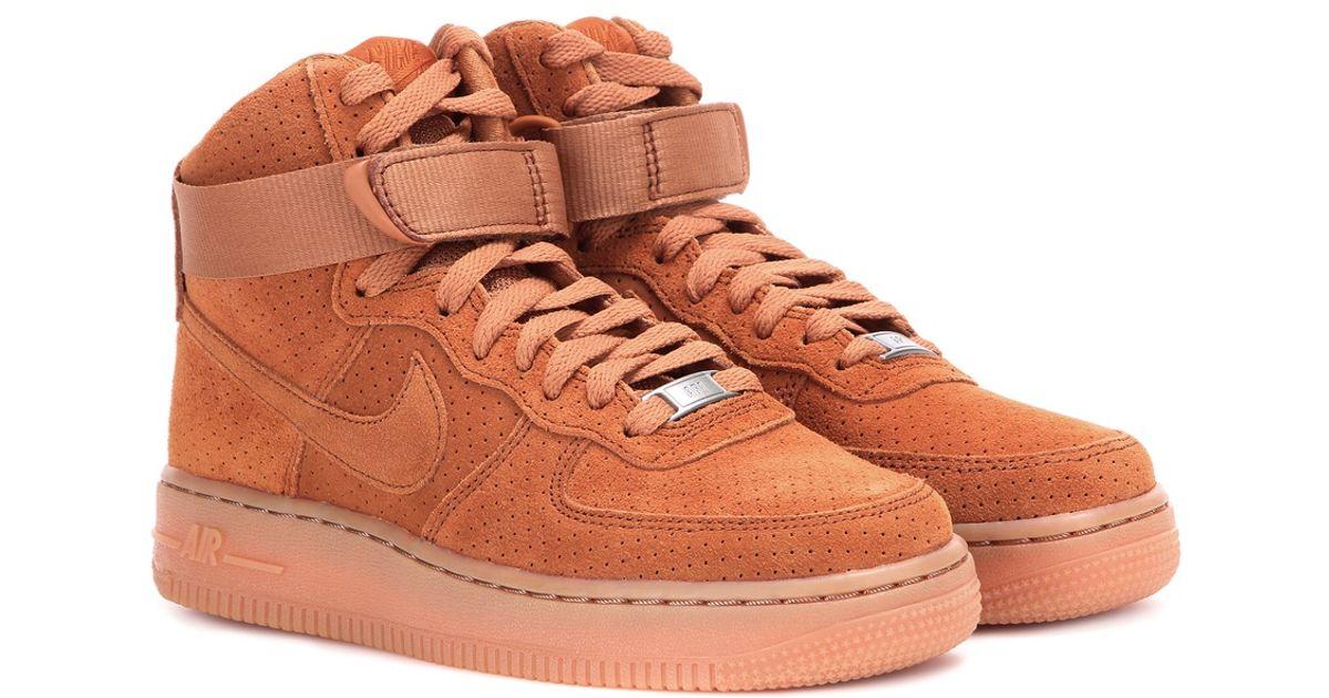 nike air force high tops brown