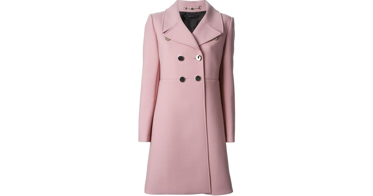 90aa46474 Gucci Silver Button Coat in Pink - Lyst