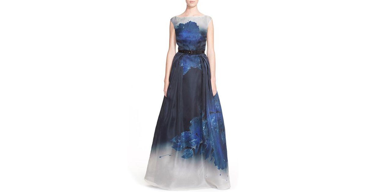 Lyst - St. John Floral Print Satin Faced Silk Organza Gown