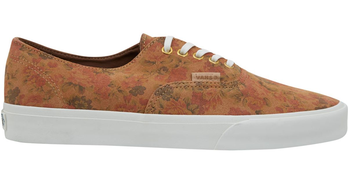75f18bbe047f38 Lyst - Vans Tan Authentic Floral Decon Ca Suede Skate Shoes in Brown for Men
