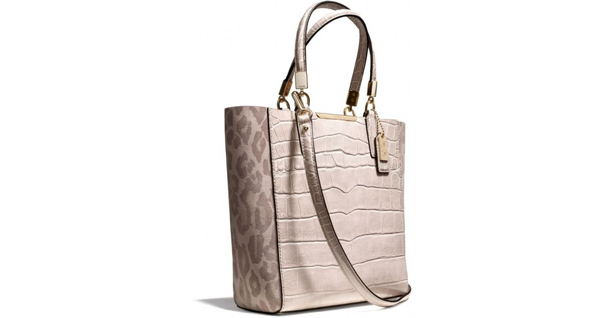COACH Natural Madison Mini Northsouth Bonded Tote in Ocelot Fabric