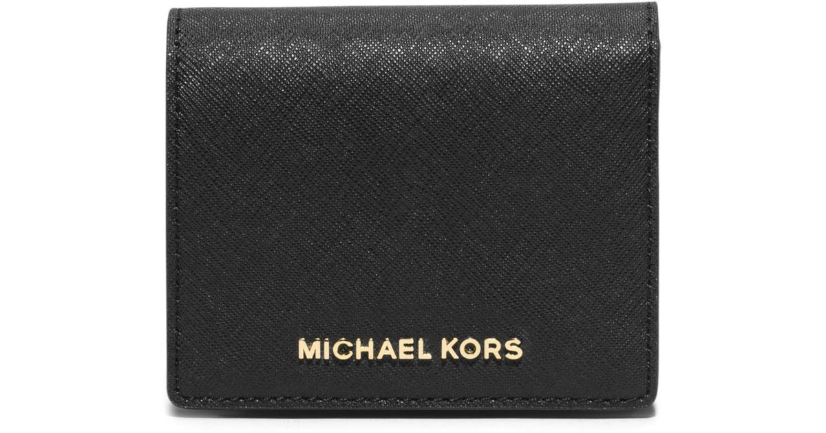 5f259c12c5b2 Michael Kors Jet Set Travel Saffiano Leather Card Holder in Black - Lyst