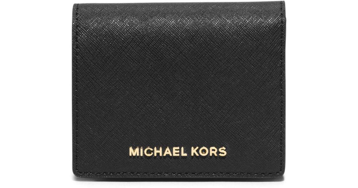 c629ab960c36 Lyst - Michael Kors Jet Set Travel Saffiano Leather Card Holder in Black