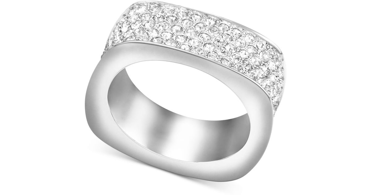 42d27e6a20995 Swarovski White Rhodium-plated Pave Crystal Square Ring