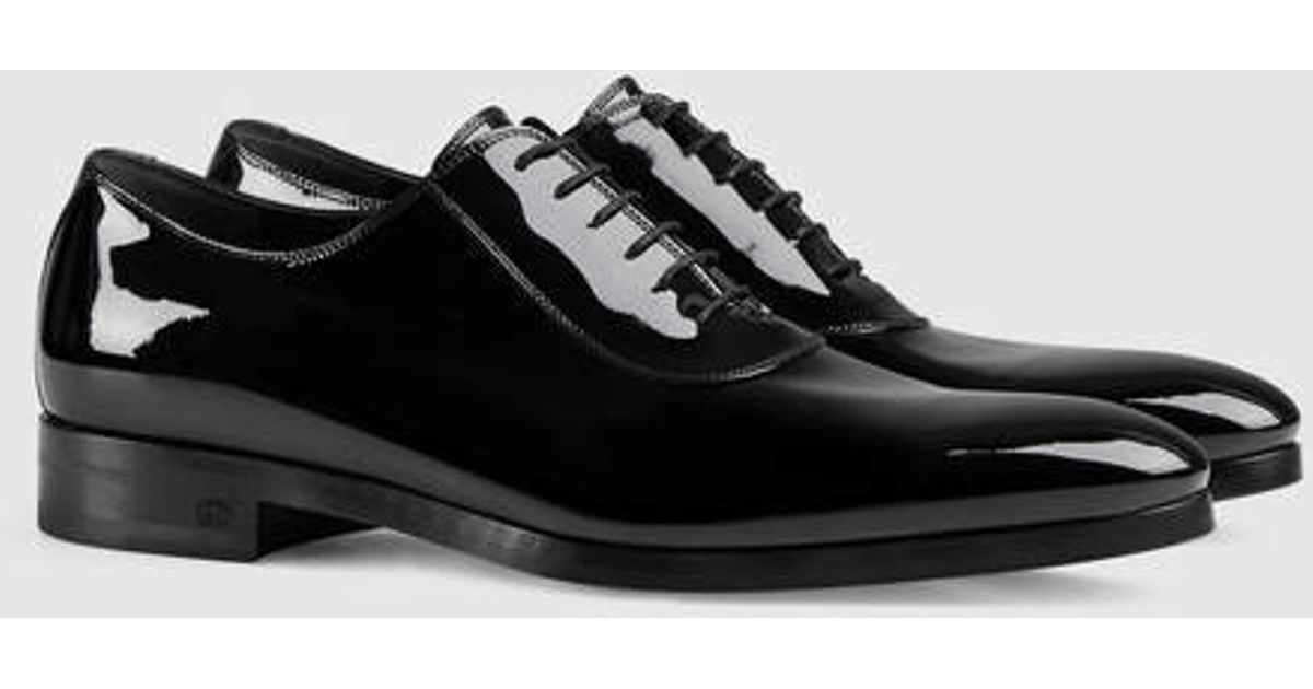 98a40dbe8a605 Lyst Gucci Patent Leather Lace Up Shoe In Black For Men