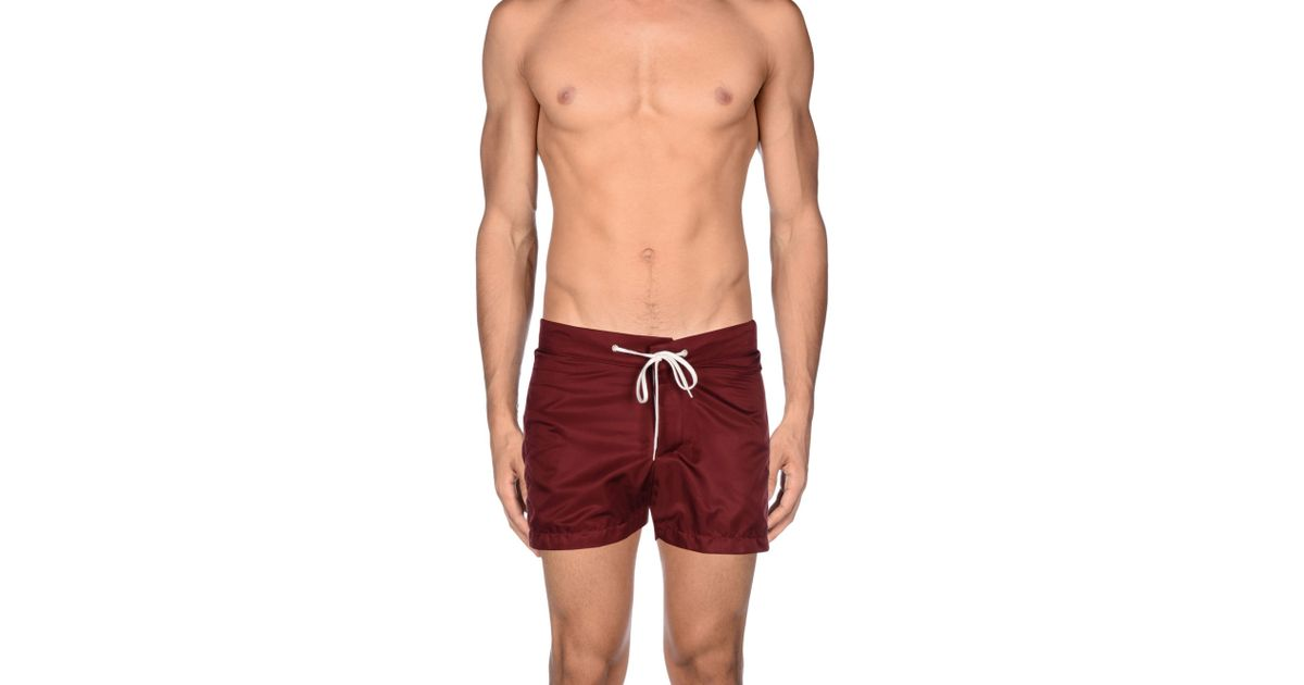 2d2abc4d57 American Apparel Swimming Trunk in Red for Men - Lyst