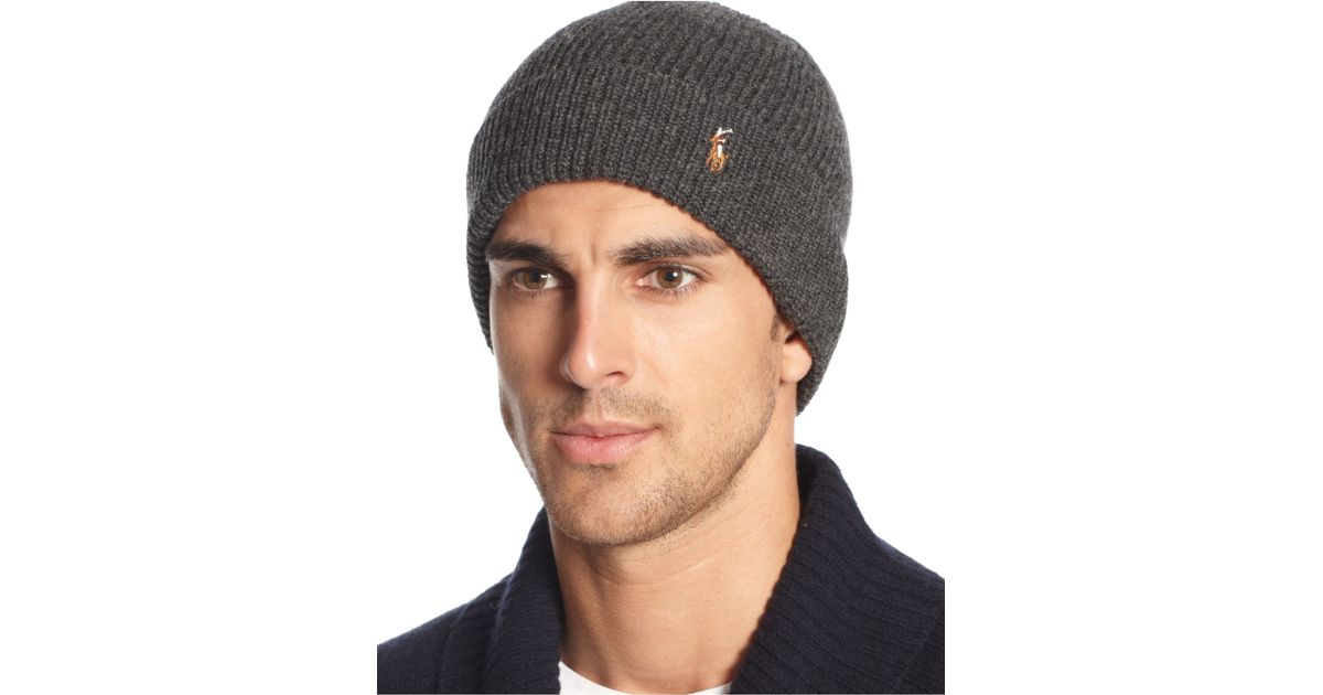 Lyst - Polo Ralph Lauren Signature Merino Cuff Hat in Gray for Men 738764bb28c