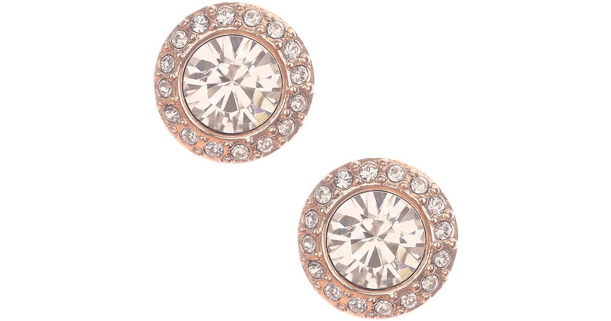 Givenchy Pink Rose Goldtone And Swarovski Crystal Stud Earrings