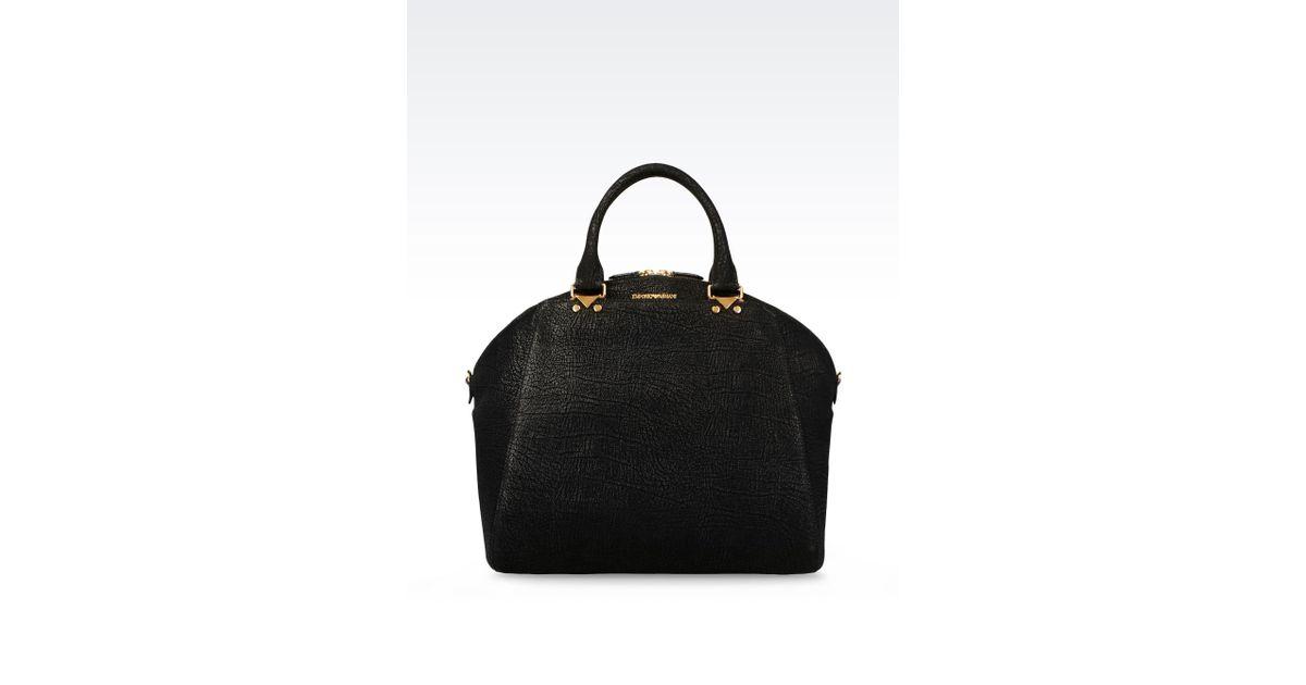 Lyst - Emporio Armani Bugatti Bag in Printed Calfskin in Black 7ada4b62b209e
