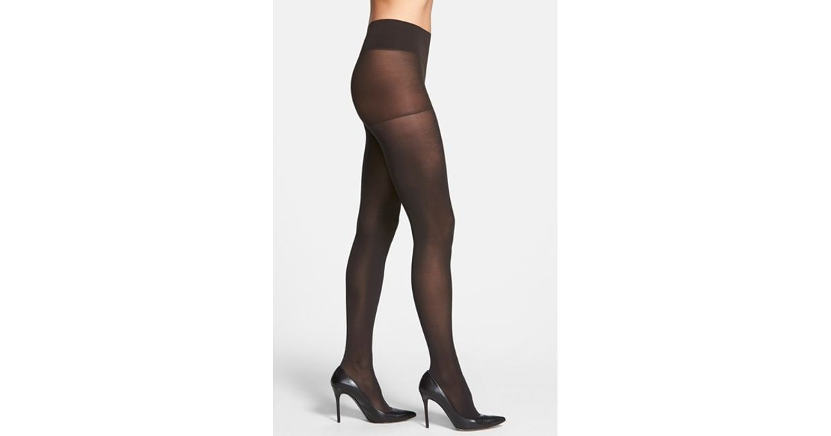 "Opaque Control Top Tights – 2-Pack: Solid-colored tights with slimming control top. A comfortable, stylish staple for your fall and winter wardrobe. Package includes two pairs of one color; Nylon/spandex; Hand wash; USA; S/M fits 4'10"" to 5'7"", lbs. L/XL fits 5'0"" to 6'0"", lbs."