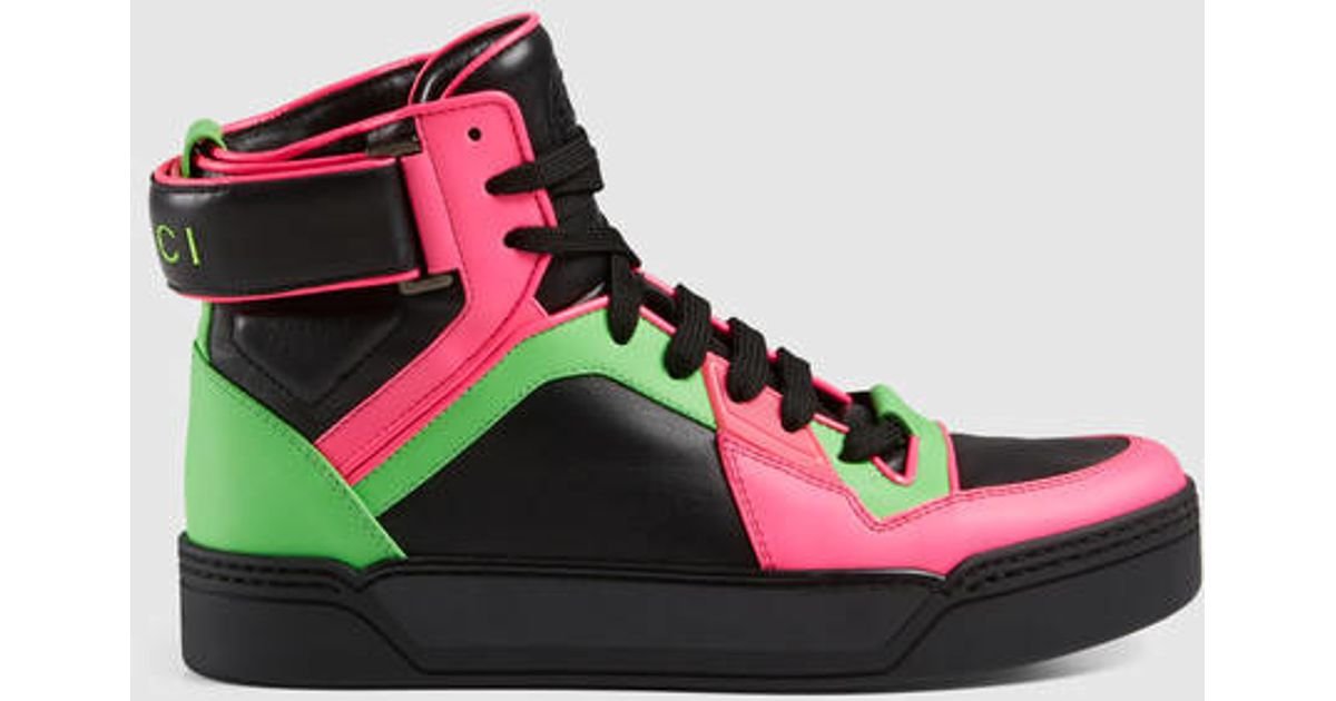 Gucci Leather New Basketball Neon High